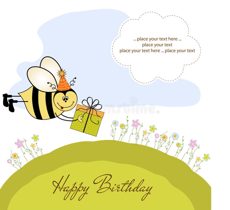Download Birthday Card With Bee Royalty Free Stock Image - Image: 21756516