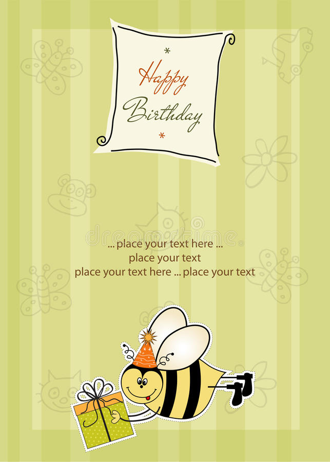 Download Birthday card with bee stock vector. Image of arrived - 21756525