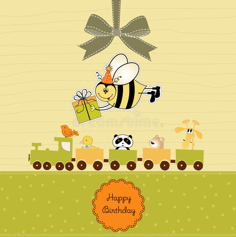 Birthday Card With Bee Stock Photography