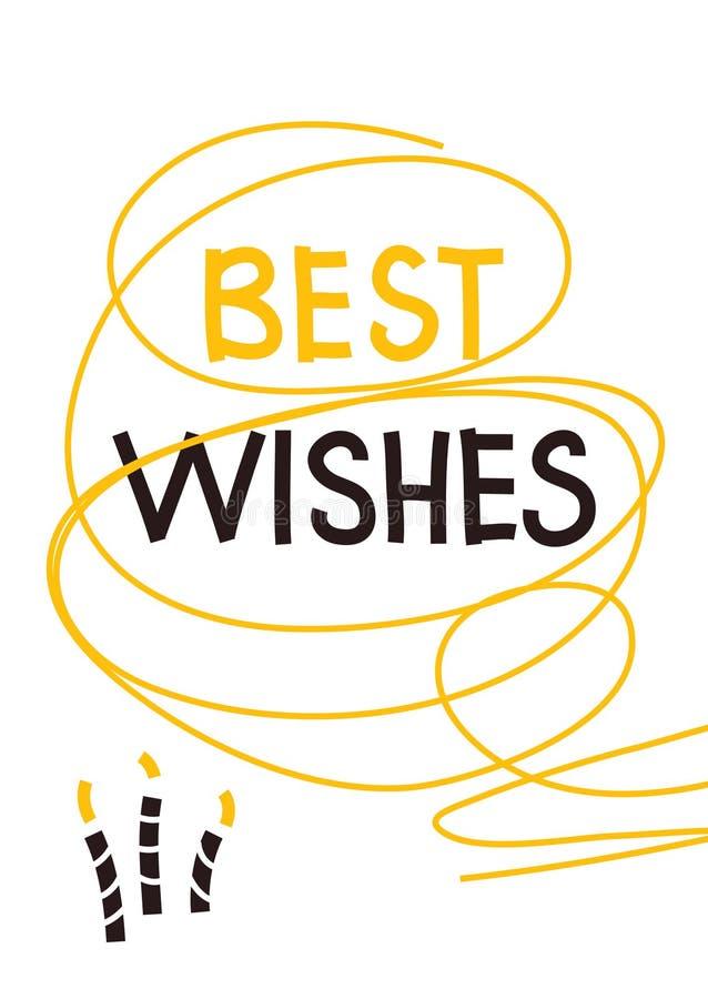 Best wishes birthday greeting card. Birthday greeting card. Best wishes text. Candles. Yellow and purple line art on white background. Vector illustration royalty free illustration