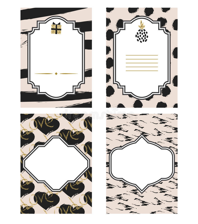 Birthday Card Black And White Template Set Gold Glitter Details