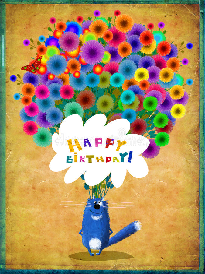 Birthday Card Blue Cat With Huge Bunch Of Flowers Stock