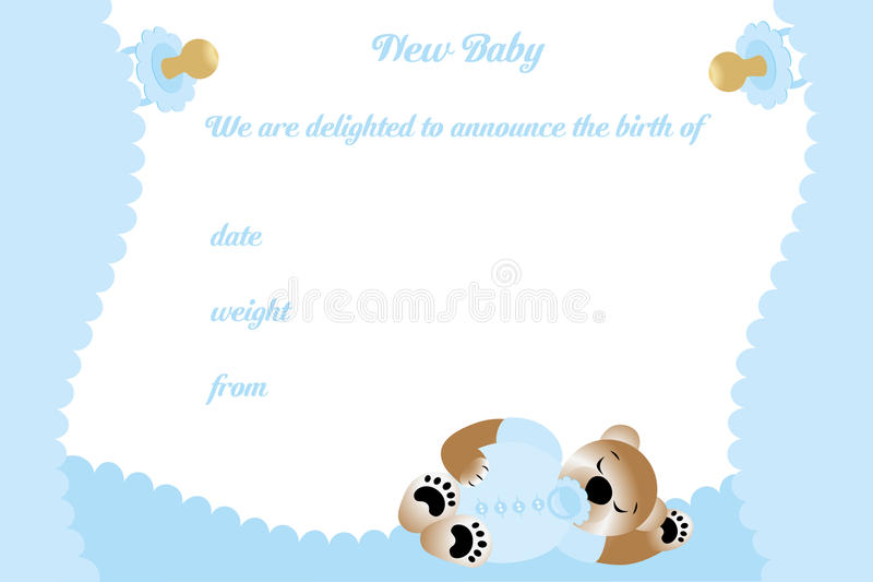 Birthday card for boy with cute bear. Available as editable vector and jpg file vector illustration