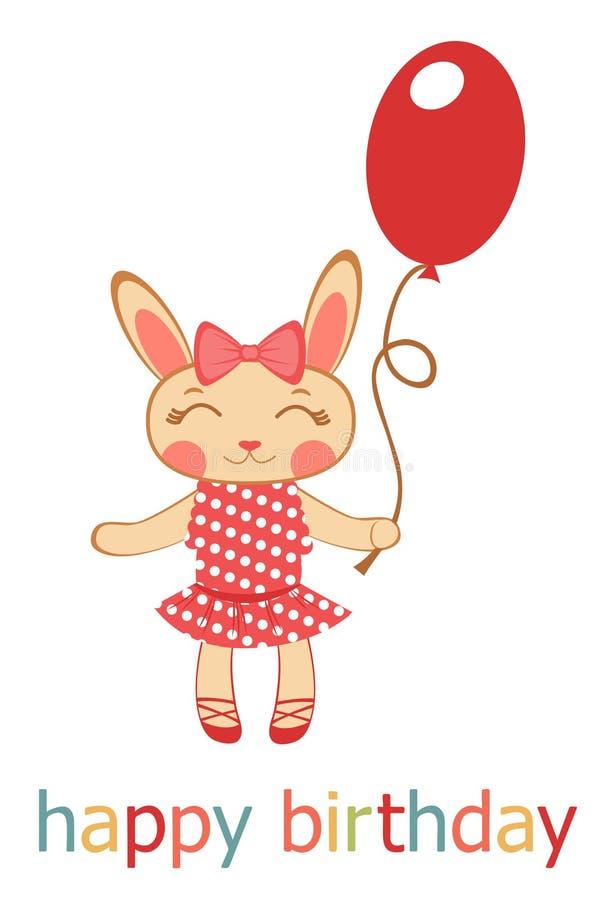 Birthday Card With Bunny Girl Holding Balloon Royalty Free Stock Photos