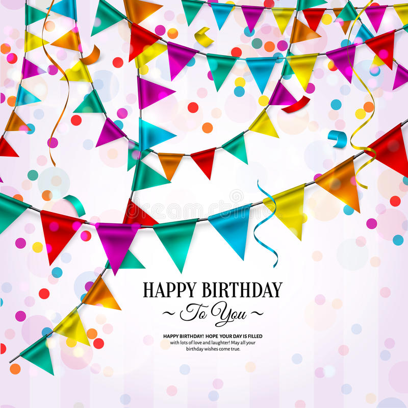 Birthday card with bunting flags royalty free illustration