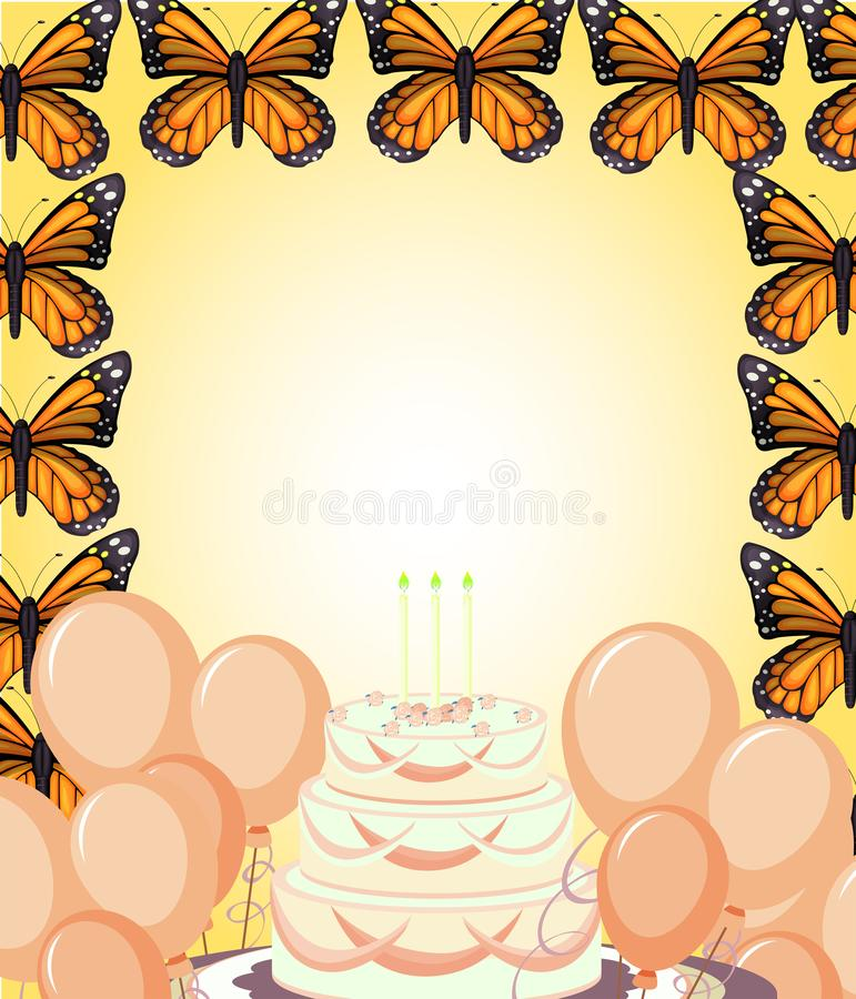 Birthday card with butterflys stock illustration