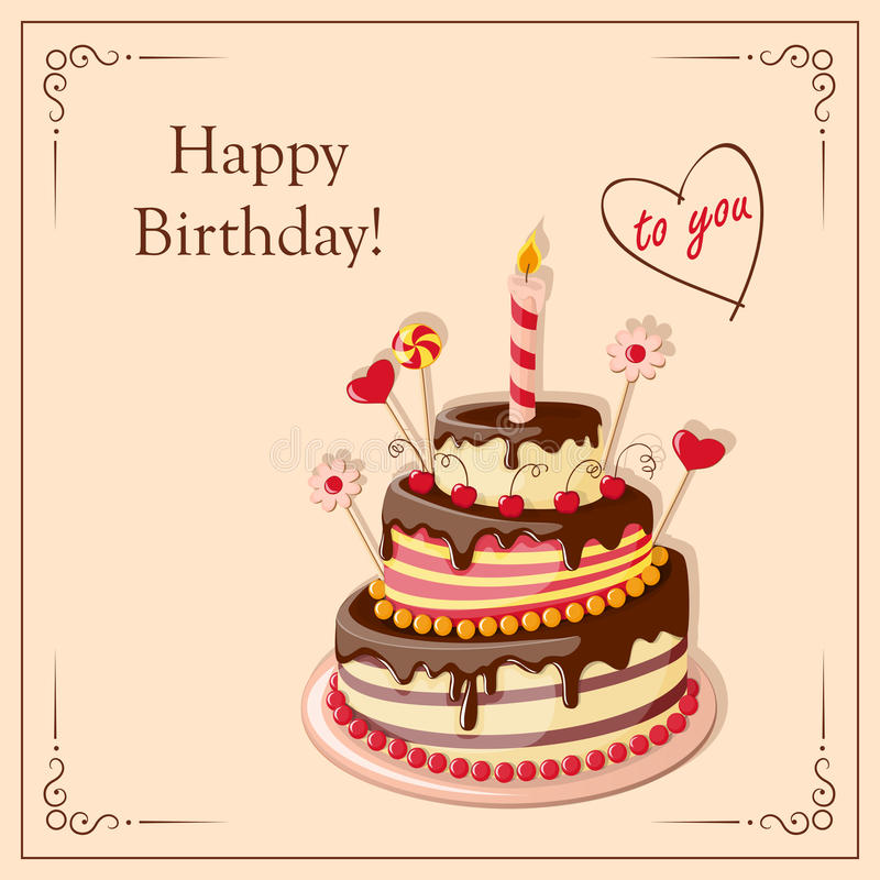 Birthday card with cake tier, candle, cherry, candy and text. Festive colorful card with text Happy Birthday to you, cake tier, hearts, candle and candy on the stock illustration