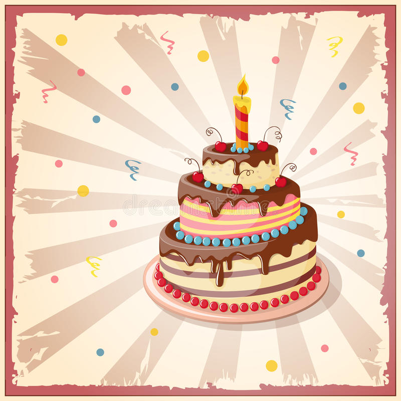 Birthday card with cake tier, candle and cherry. Festive colorful card on the craft paper with cake tier, candle and cherry on the vintage background. eps10 stock illustration