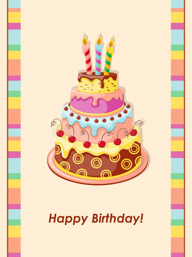 Birthday card with cake tier, candles and cherry. Festive colorful birthday card with cake tier, candles and cherry on the vintage background. eps10 vector illustration