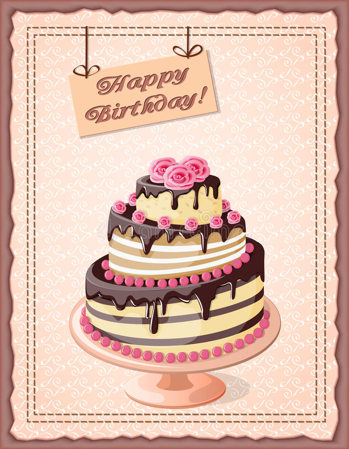Birthday card with cake tier and roses. Festive colorful birthday card on the craft paper with cake tier, roses on the vintage background. eps10 stock illustration