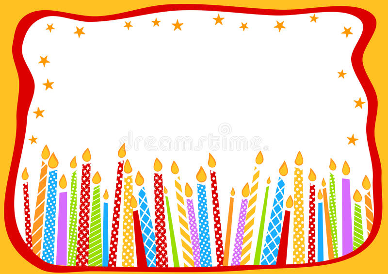 Birthday Card With Candles. Happy birthday greeting card with candles and stars border frame vector illustration