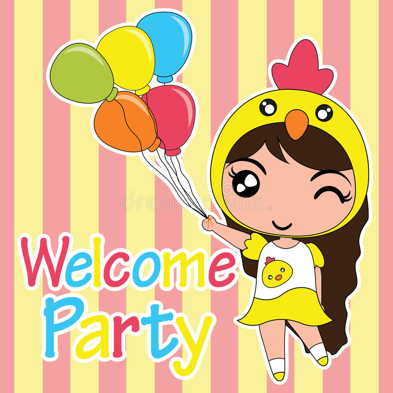 Birthday card cartoon illustration with cute chick girl brings balloons suitable for birthday invitation card design vector illustration