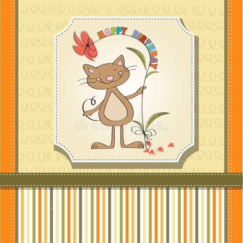 Birthday card with cat stock illustration