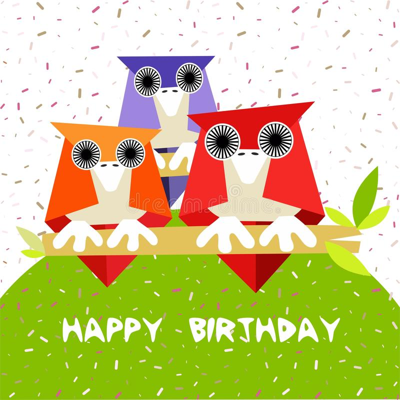 Children birthday card for with owls - spring time - vector. Birthday card for children with owls - spring time - vector. Eps file available vector illustration