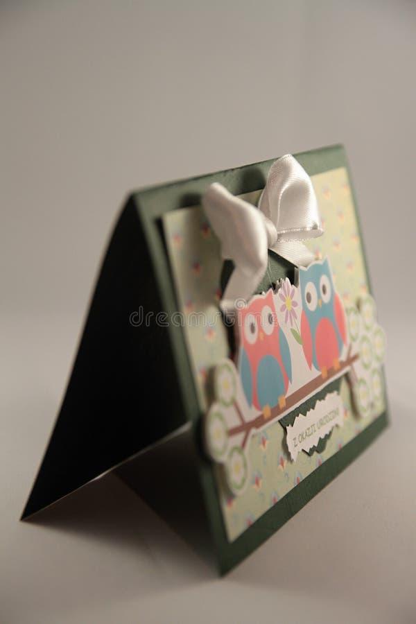 Birthday card. Colorful handmade birthday card Greeting royalty free stock photography