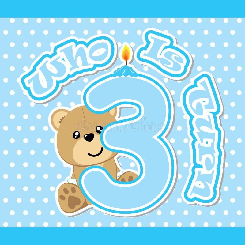 Birthday card with cute bear on blue polka dot background royalty free illustration