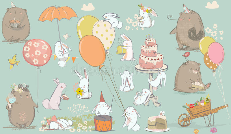 Birthday card with cute bear and hare royalty free illustration