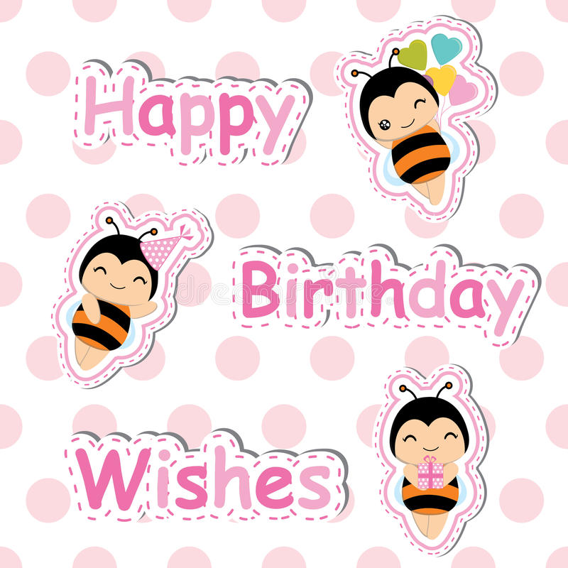 Birthday card with cute bee on polka dot background suitable for Birthday postcard vector illustration