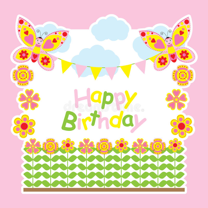Birthday card with cute butterflies fly on the flowers garden vector illustration