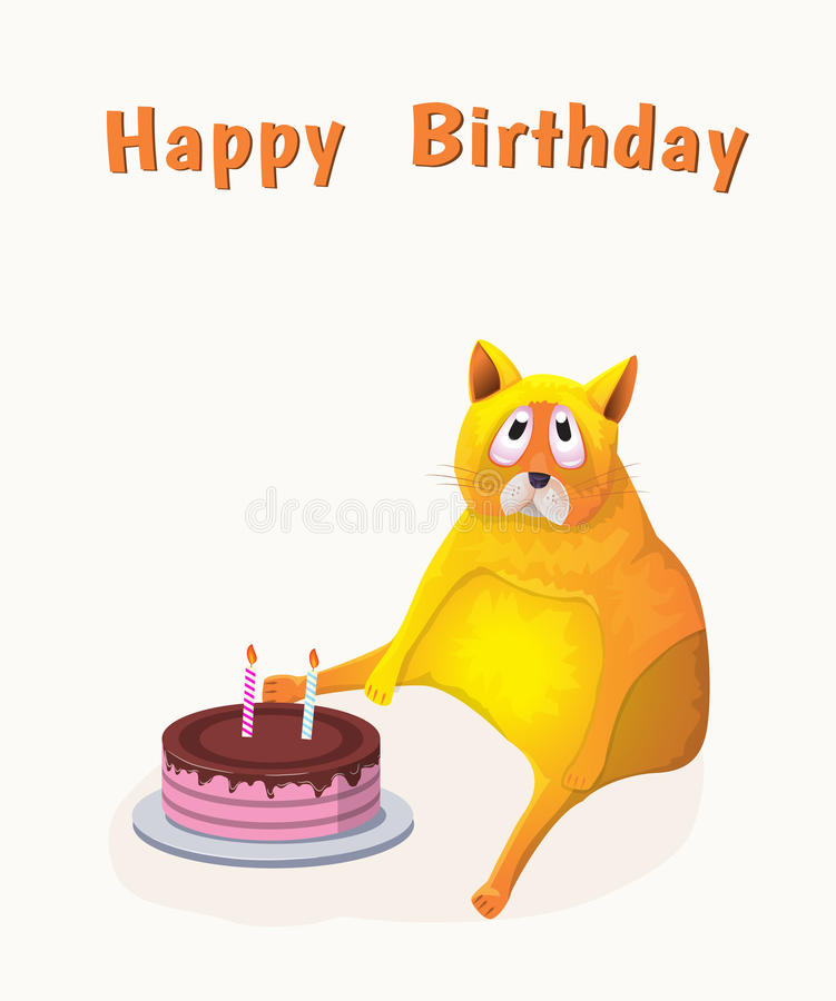 Download Birthday Card With Cute Cartoon Cat Stock Vector - Image: 83717667
