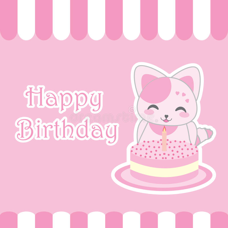 Birthday card with cute cat and birthday cake vector cartoon download birthday card with cute cat and birthday cake vector cartoon suitable for kid stopboris Images