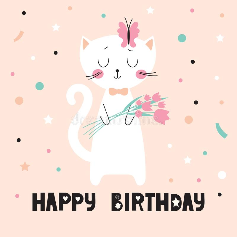 Birthday card with cute cat vector illustration