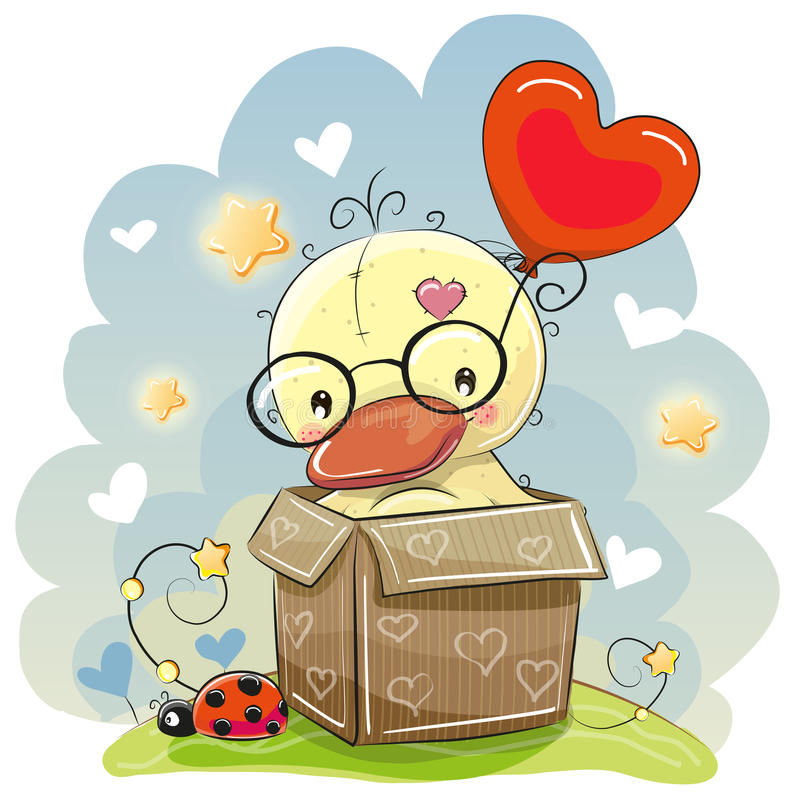 Birthday card with a Cute Duck. Ling and balloon stock illustration