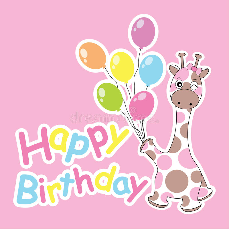 Birthday card with cute giraffe bring colorful balloons vector illustration