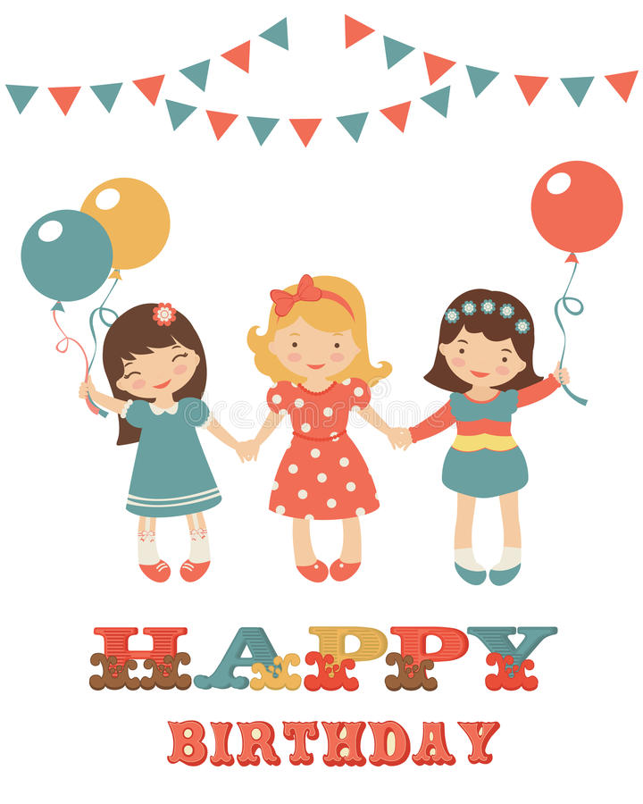 Birthday Card With Cute Little Girls Stock Vector Illustration Of