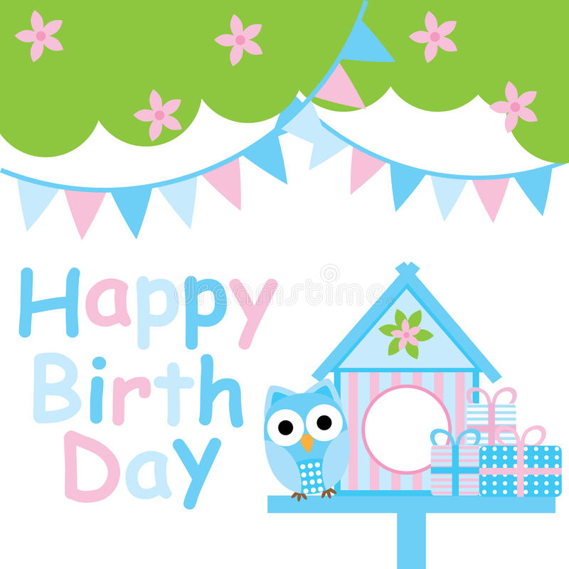 Birthday card with cute owl, bird house and colorful flag stock illustration