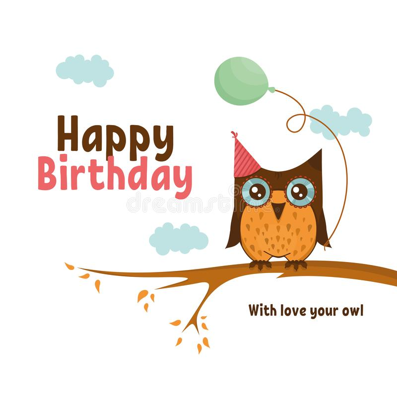 Birthday card with cute owl stock photography