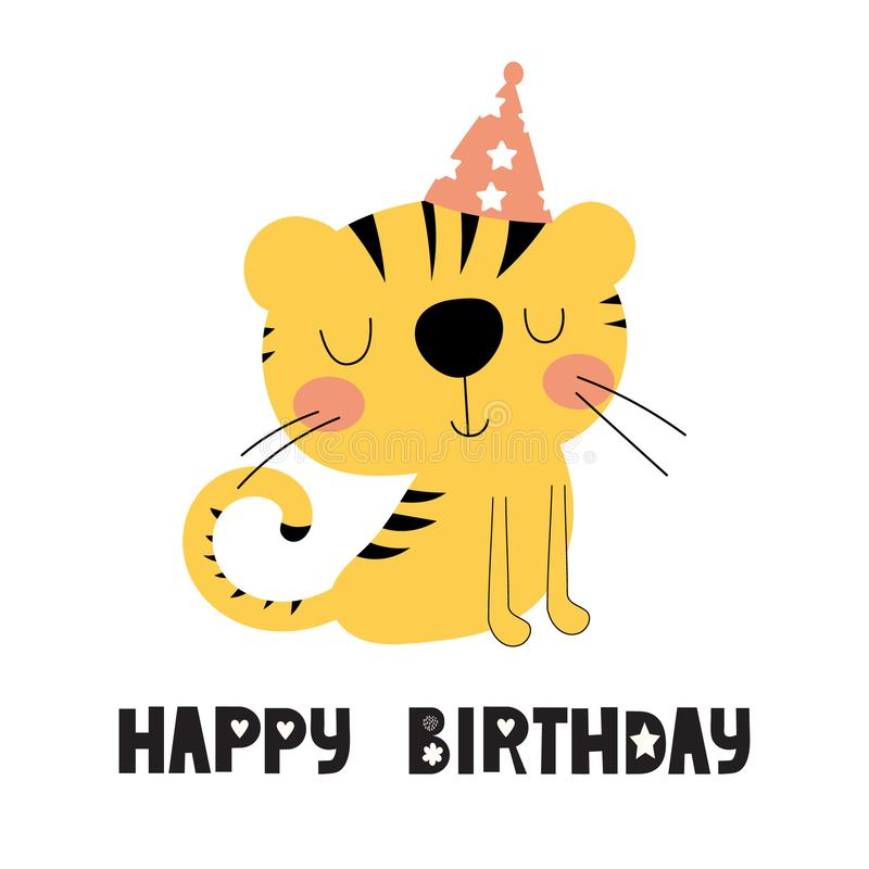 Birthday card with cute tiger vector illustration