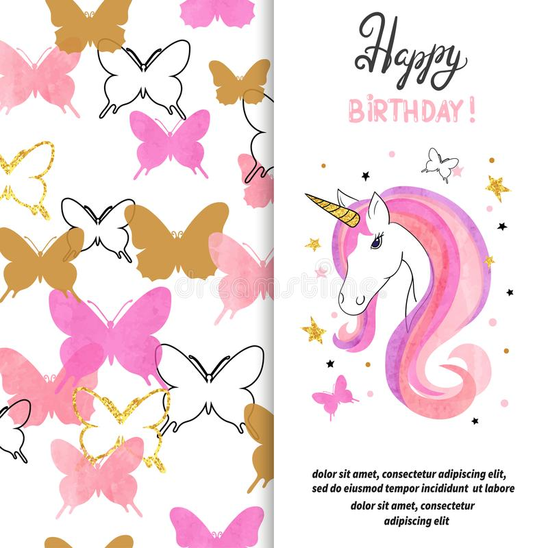 Birthday card design with beautiful unicorn for little girl vector illustration