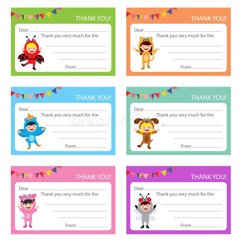Birthday card with kids in animal costume vector illustration