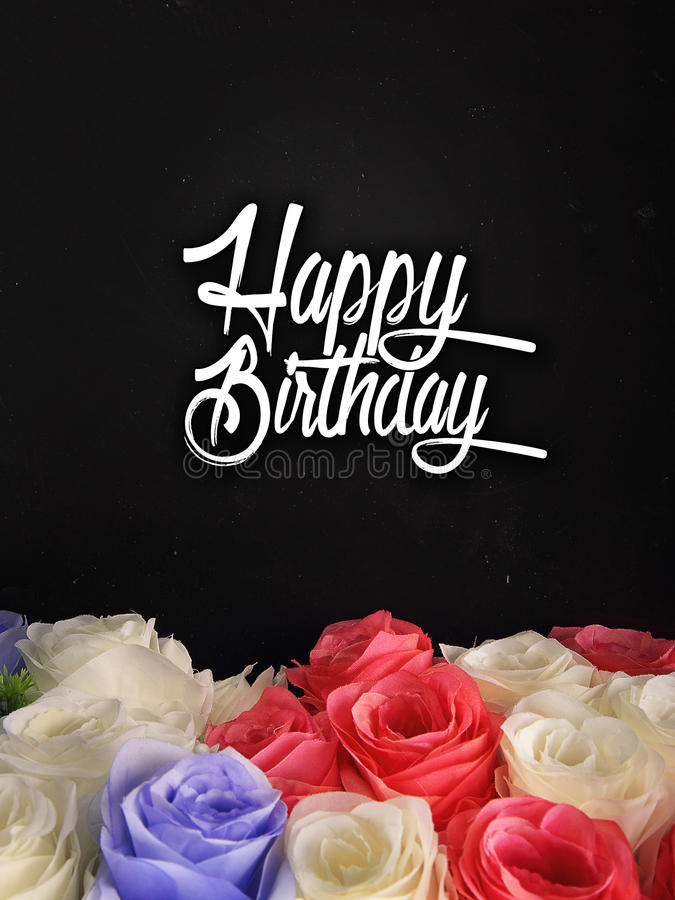 Birthday card design with flowers. Birthday card design with handwritten typography and colorful roses on the bottom of composition royalty free stock image