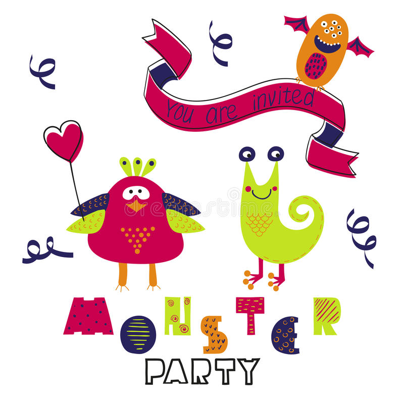 Birthday card design. Monster party invitation. Vector illustration with cute cartoon monsters royalty free illustration