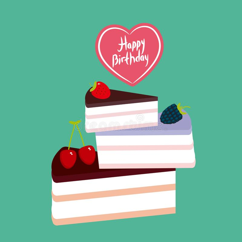 Birthday Card design Sweet cake decorated with fresh berry, pink cream and chocolate icing, piece of cake, heart, pastel colors on. Green background. Vector stock illustration