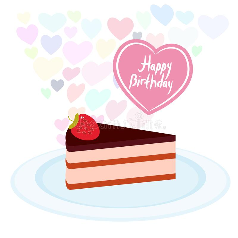 Birthday Card design Sweet cake decorated with fresh Strawberry, pink cream and chocolate icing, piece of cake on the blue plate,. Pastel colors on white stock illustration