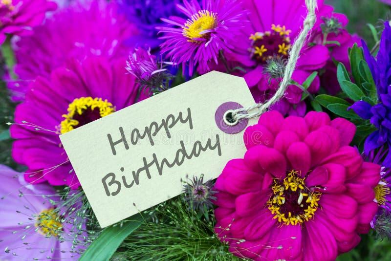 Birthday card. English Birthday card with summer flowers royalty free stock photos
