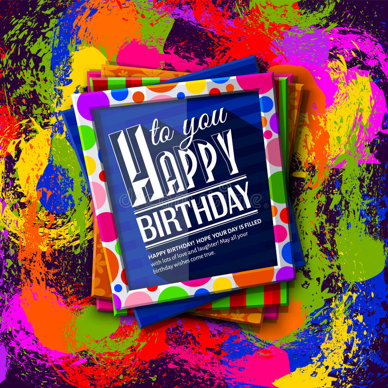 Birthday Card Frames With Colorful Textures And Stock Vector