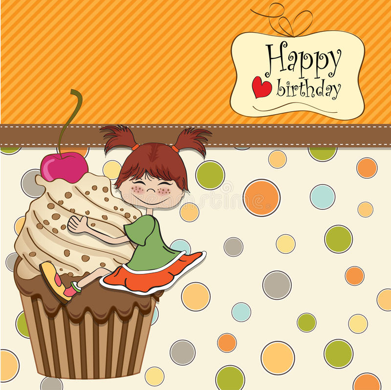 Birthday card with funny girl stock illustration
