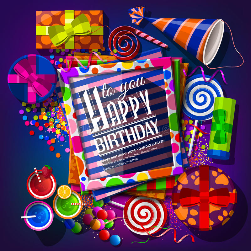 Birthday card with gift boxes, cocktails vector illustration