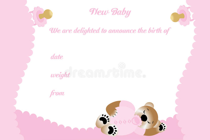 Birthday card for girl with cute bear. Available as eps-vector and jpg file stock illustration