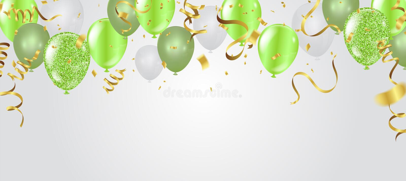 Birthday card with green balloons. Happy birthday royalty free illustration