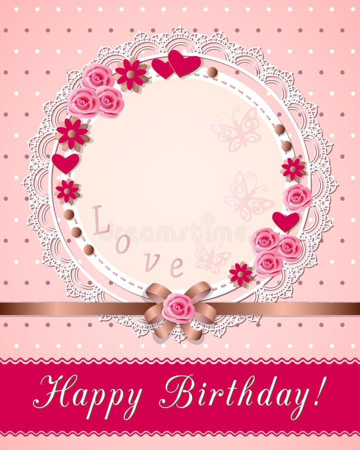 Vintage Scrapbooking Birthday Card With Flowers On The Napkin Stock