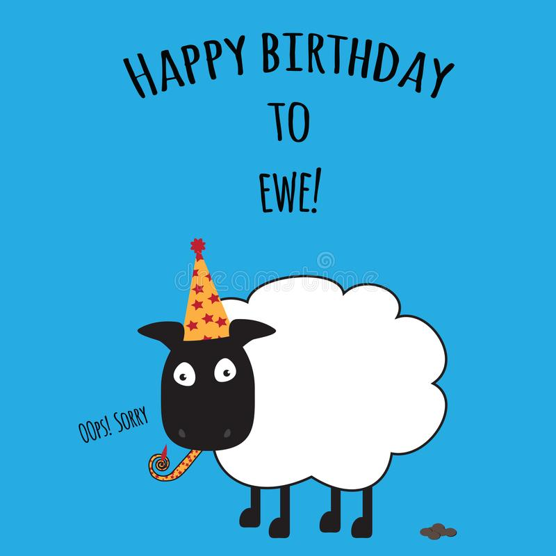 Birthday card with Happy Birthday to Ewe with cute sheep image vector illustration