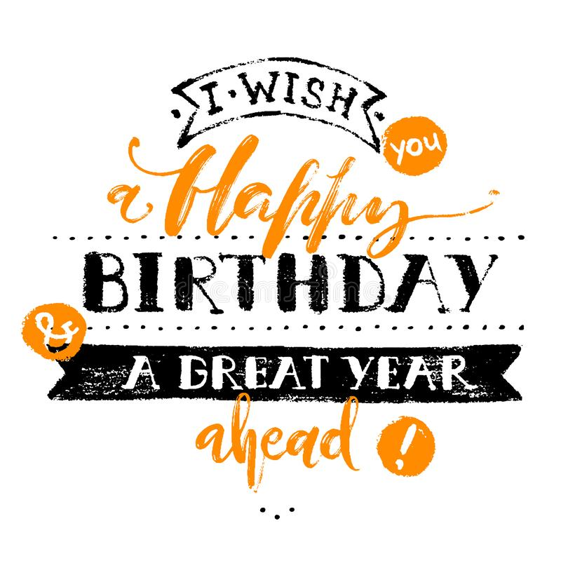 Birthday card. Happy Birthday words on white background. Holyday design for cards, invitations and banners. royalty free illustration