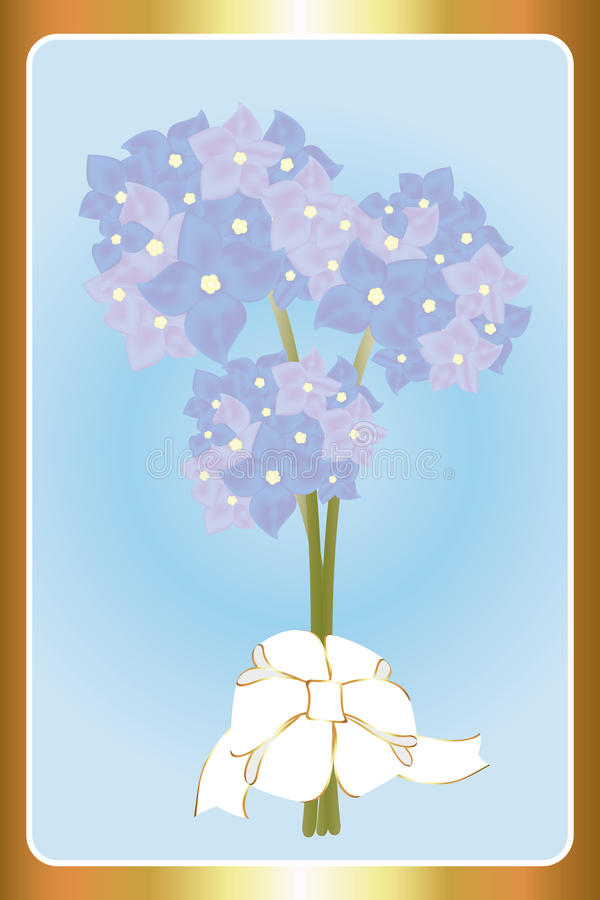 Birthday card with hortensias. Vintage Birthday card with hortensias on light-blue background framed by golden frame royalty free illustration