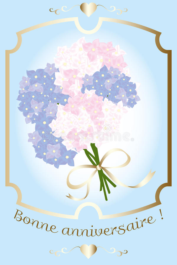 Birthday card with Hydrangea Bouquet. Birthday card with French golden text and Hydrangea Bouqet - available as eps-vector and jpg-file vector illustration