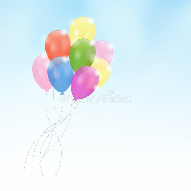 Birthday card invitation, party balloons, vector illustration